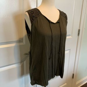 Olive green Casual lightweight sleeveless top